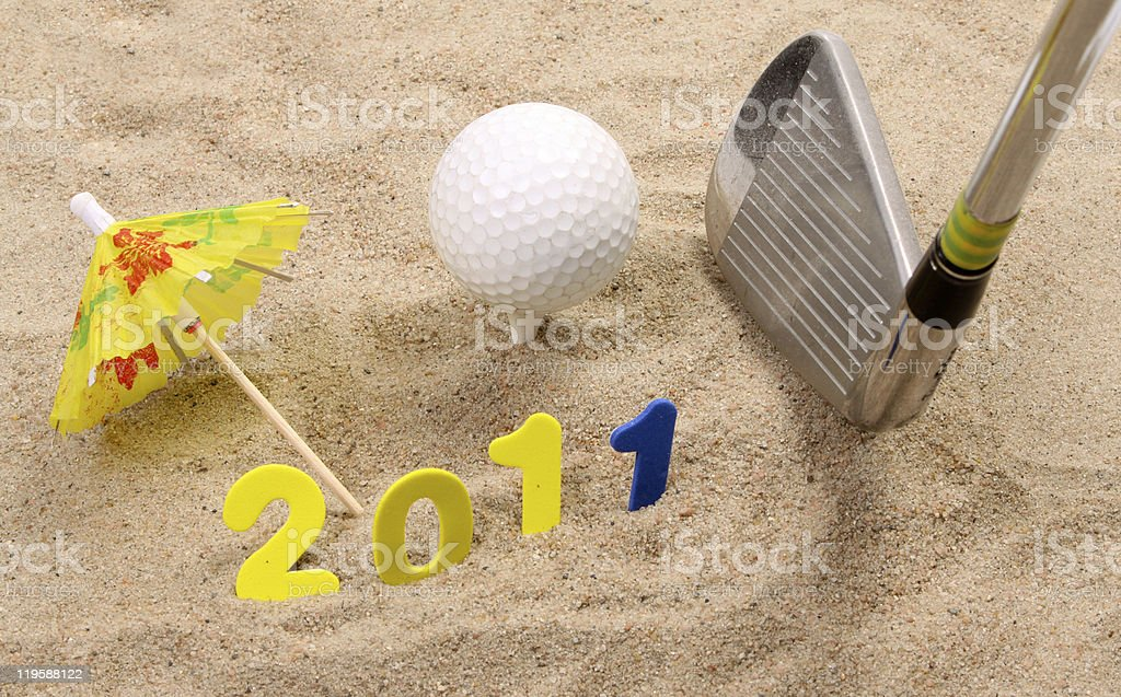 Golf in the new year stock photo