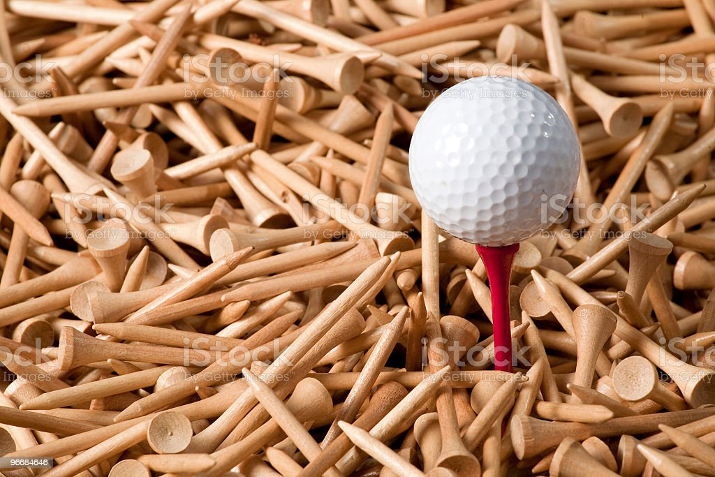 Golf in the red stock photo