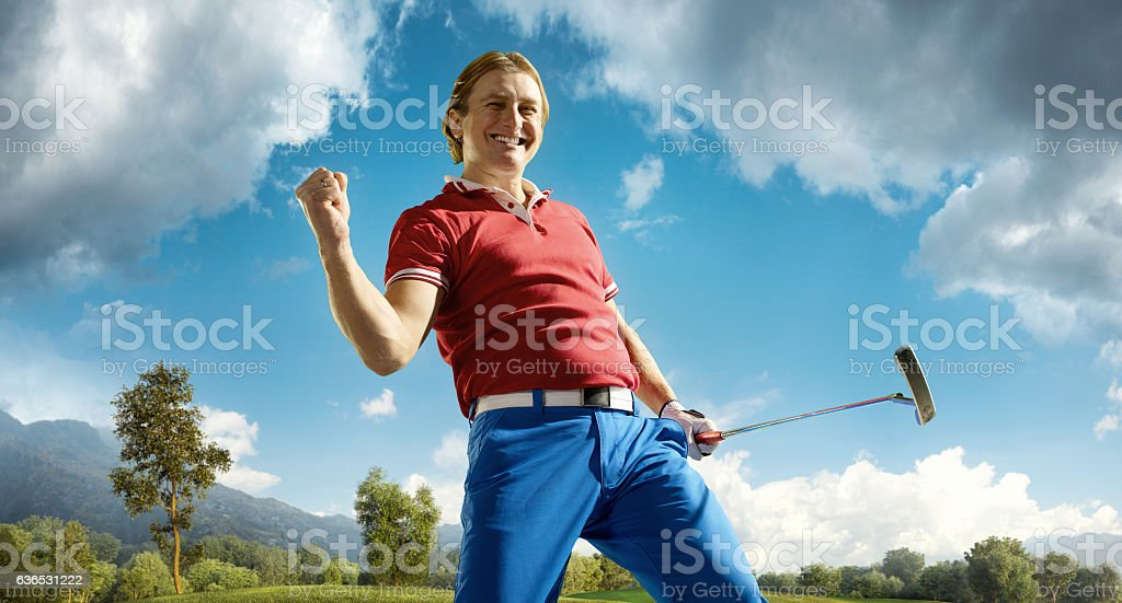 Golf: Man winning a golf championship stock photo
