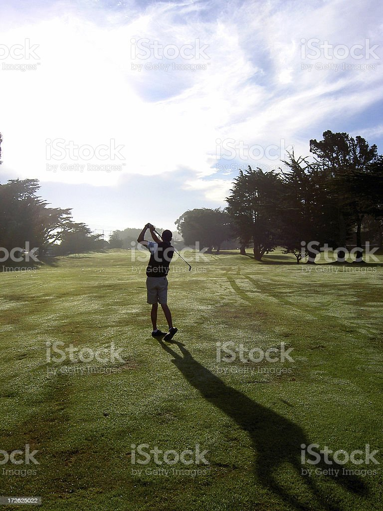 Golf Morning silhouette stock photo