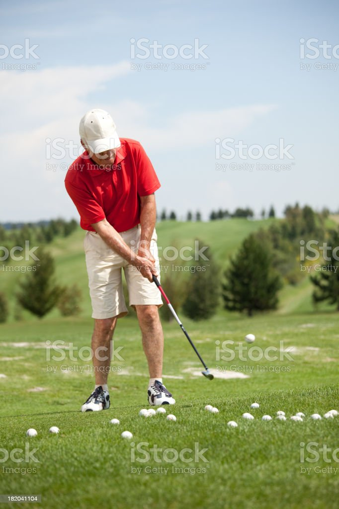 golf player during training stock photo