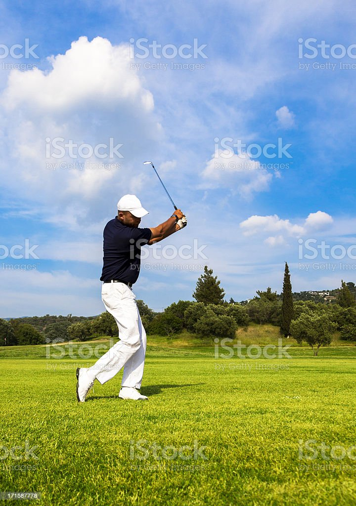 Golf Player. Perfect shot on the Course. royalty-free stock photo