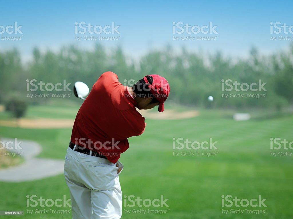Golf Player Powerful Teeing Off - XLarge stock photo