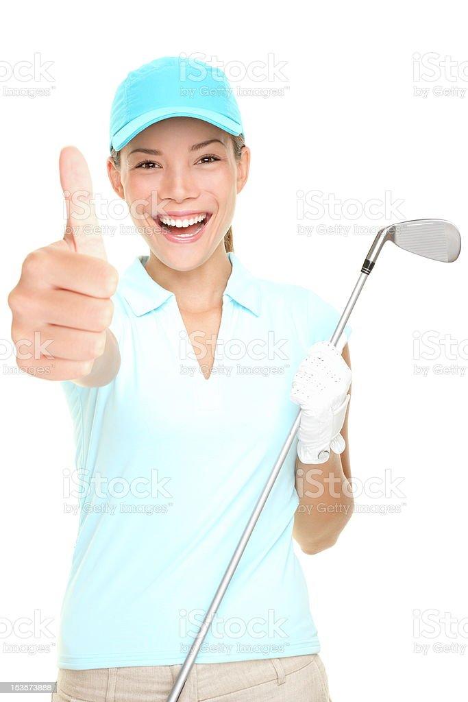 Golf player success woman smiling stock photo