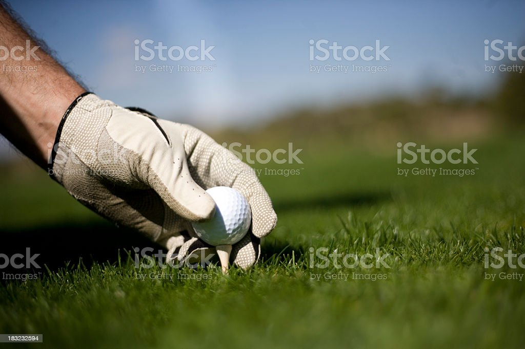 Golf player teeing up their golf ball royalty-free stock photo