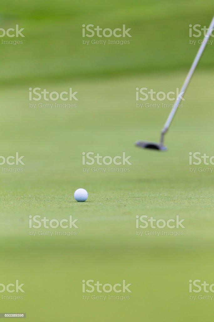 Golf Putter Ball Rolling Hole Green stock photo