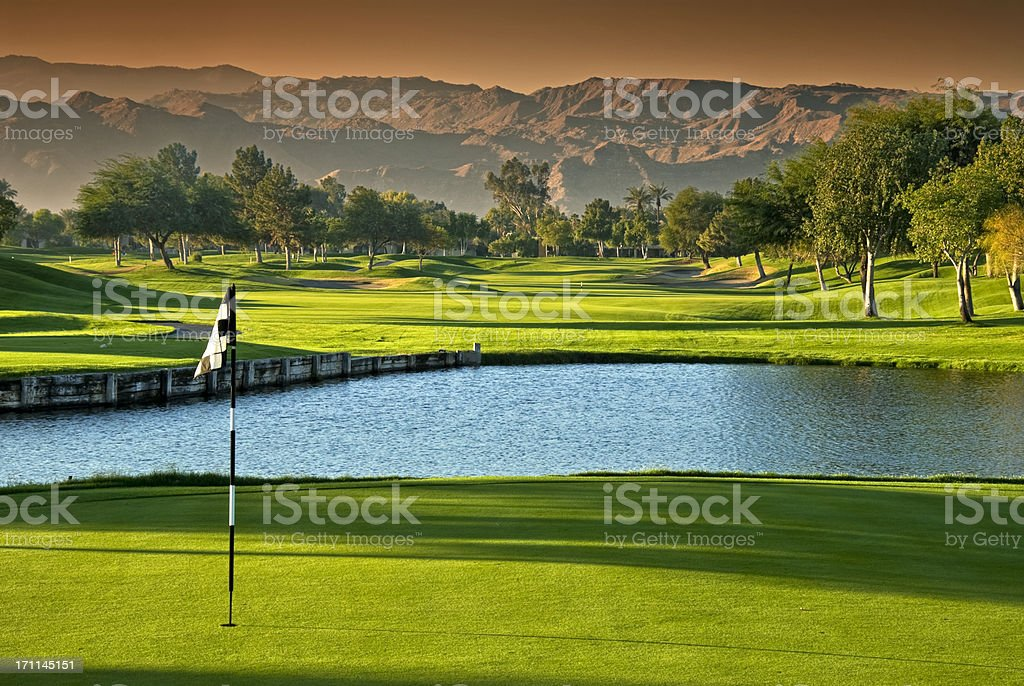 Golf Scenic at Dawn with Dramatic Sky stock photo
