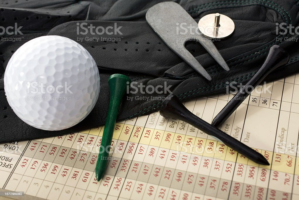 Golf Scorecard with Ball and Tees stock photo