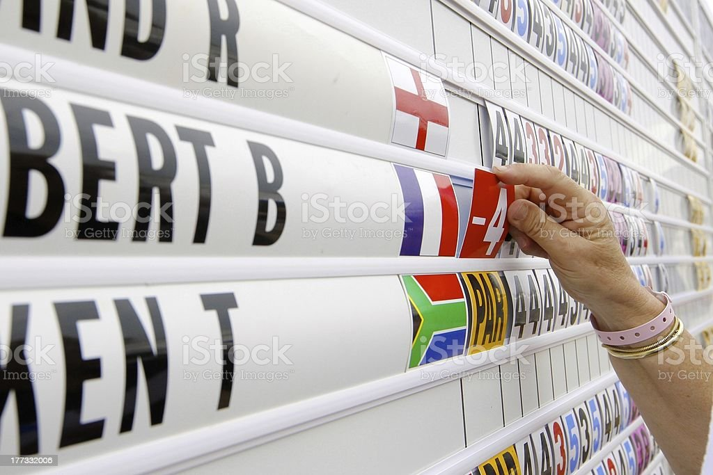 Golf scoring board stock photo