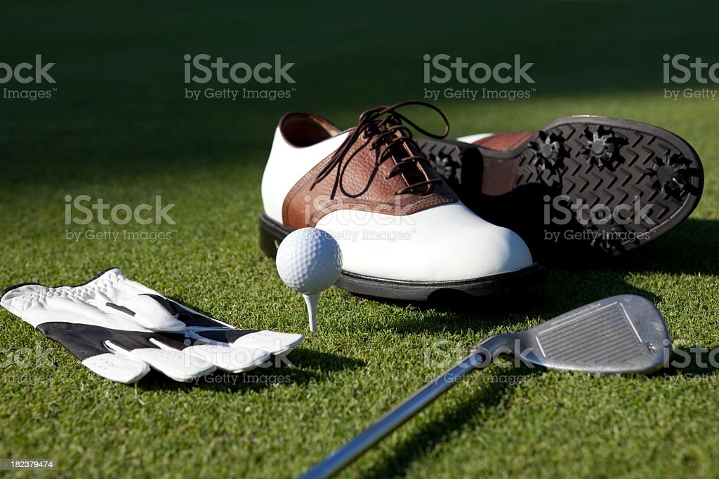 Golf Shoes, Gloves,Ball,Club On Green Grass stock photo