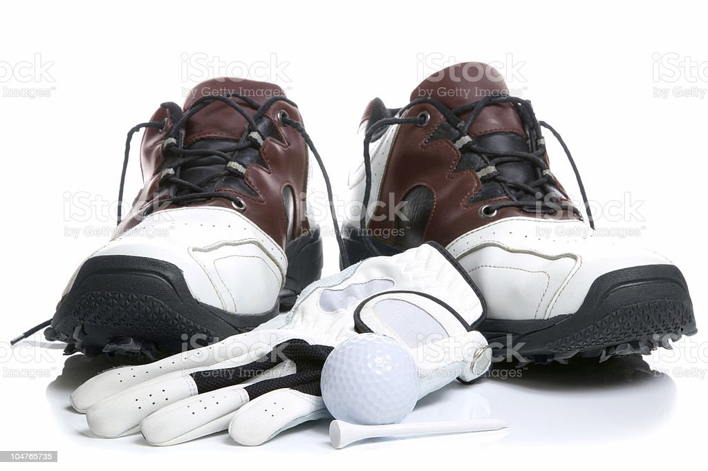 Golf shoes,Ball,Glove and Tee stock photo
