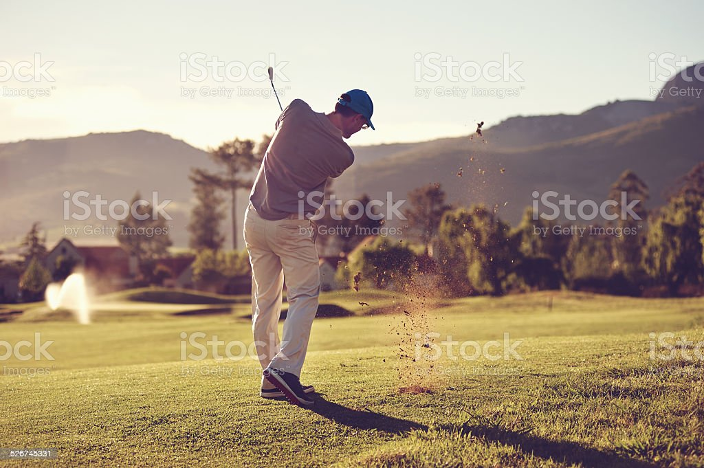 golf shot man stock photo