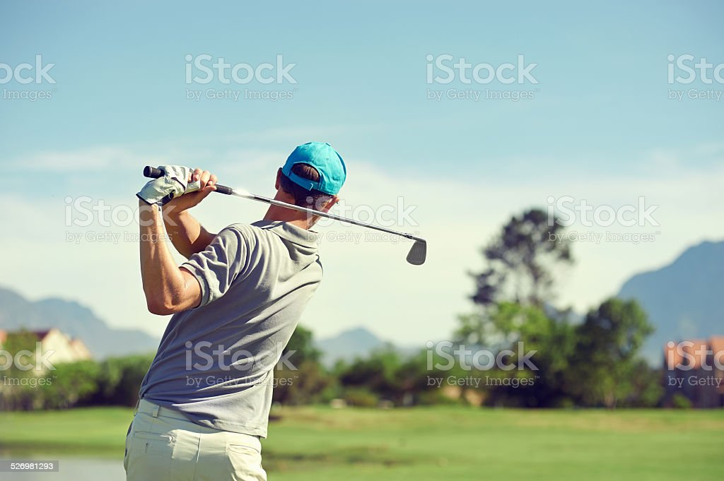 golf shot man stock photo