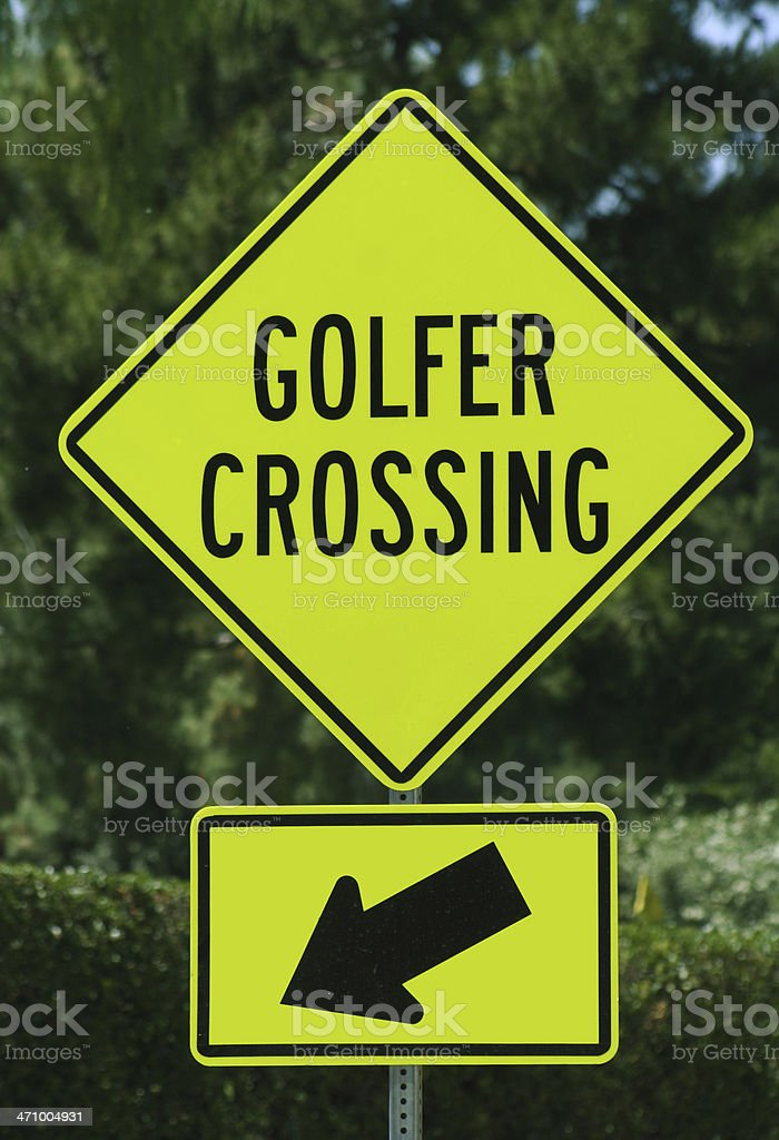 Golf Sign- Golfer Crossing royalty-free stock photo