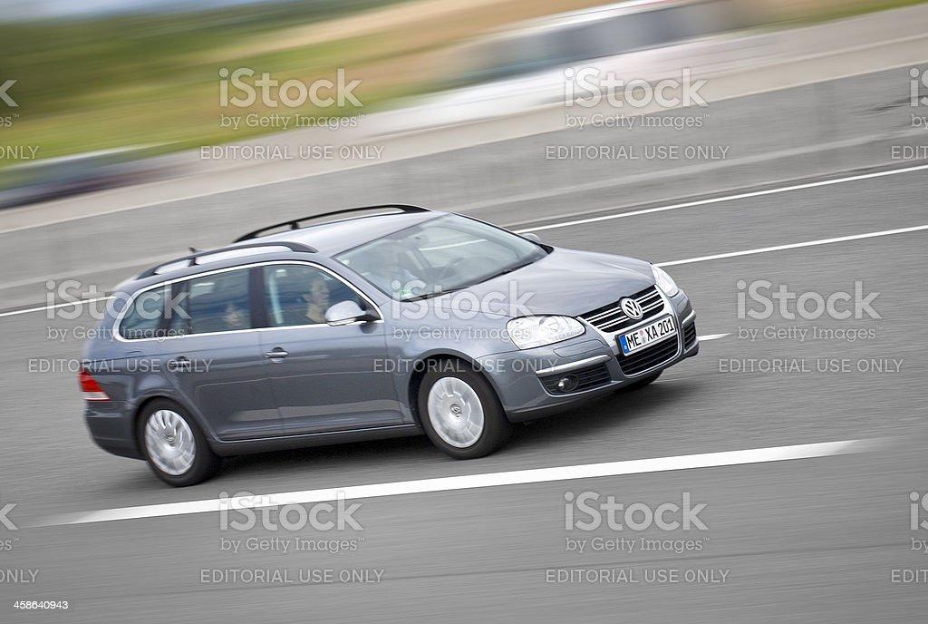 VW Golf station wagon, high speed royalty-free stock photo