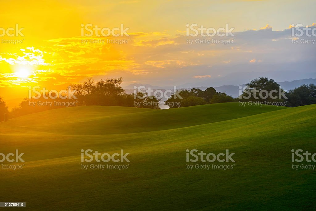 Golf Sunrise stock photo