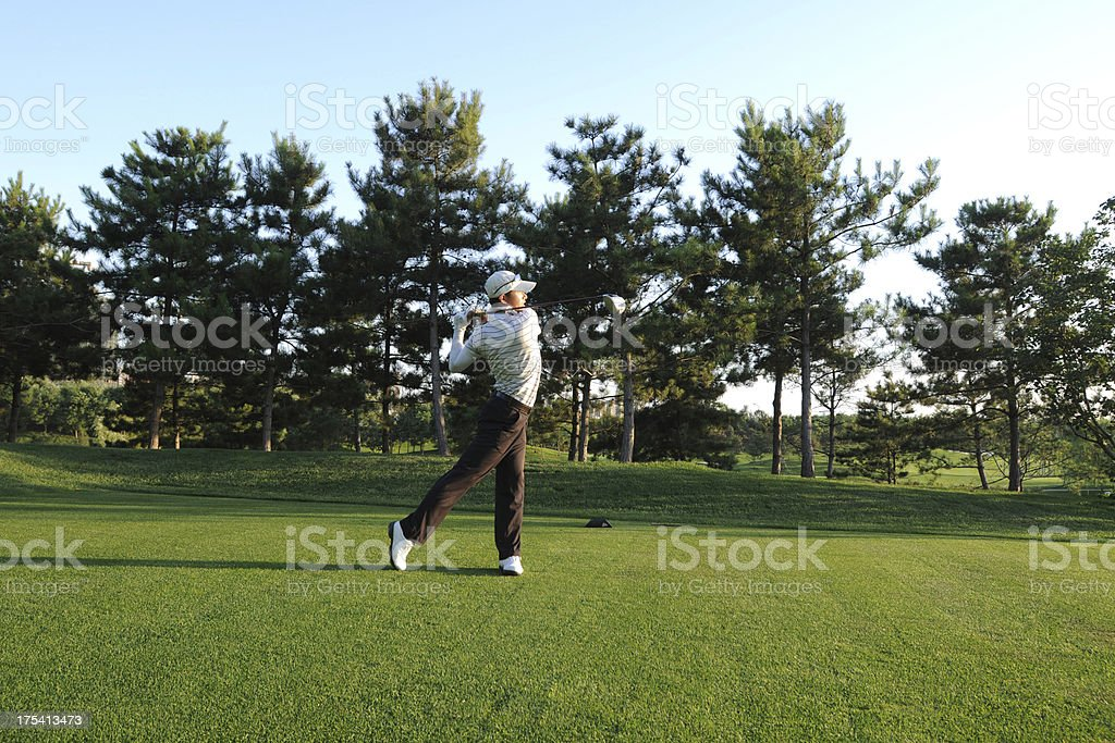 Golf Swing and Teeing Off - XLarge royalty-free stock photo