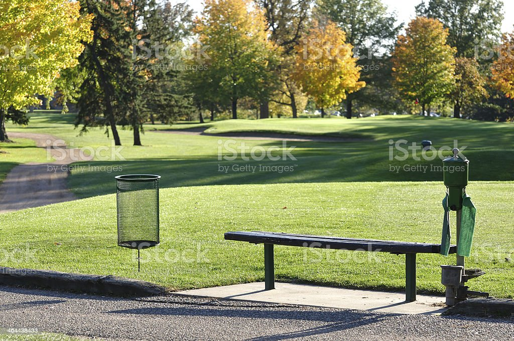 Golf Tee Box and Bench royalty-free stock photo