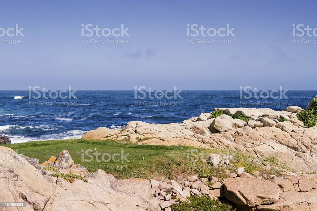 Golf Tee by the Ocean stock photo