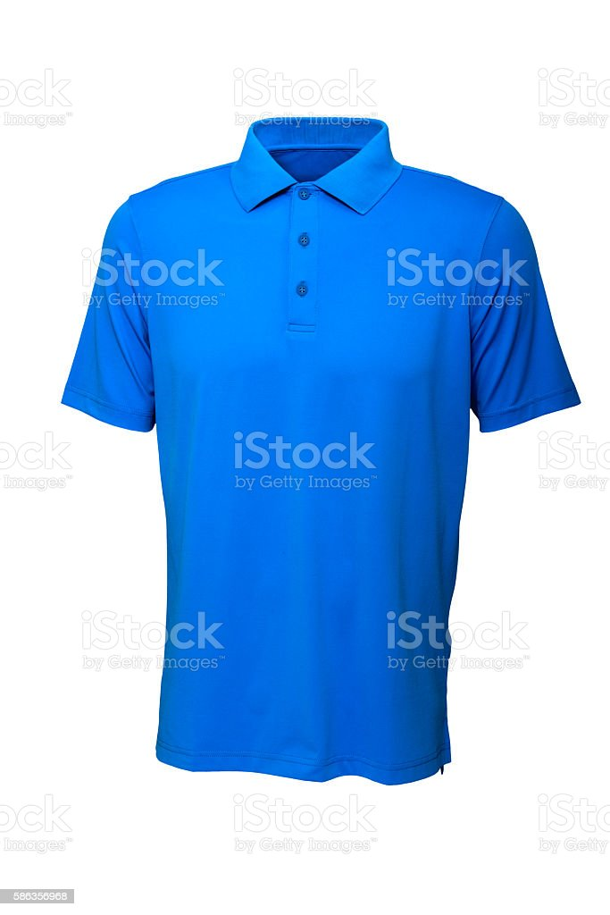 Golf tee shirt blue color for man or woman stock photo
