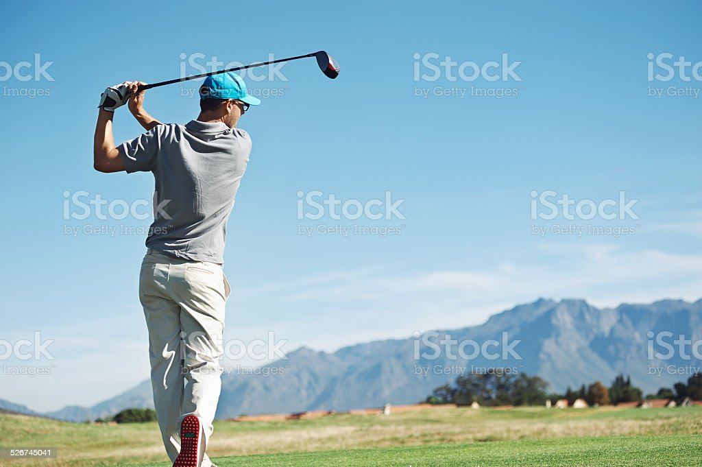 golf tee shot stock photo