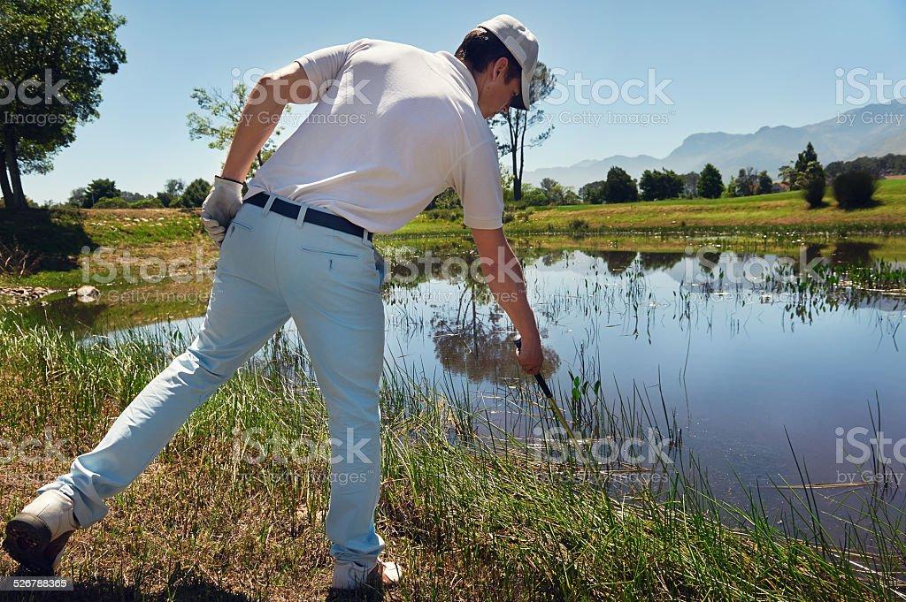golf water hazard stock photo