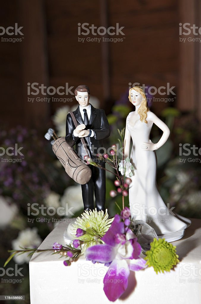 Golf Wedding Cake Toppers royalty-free stock photo