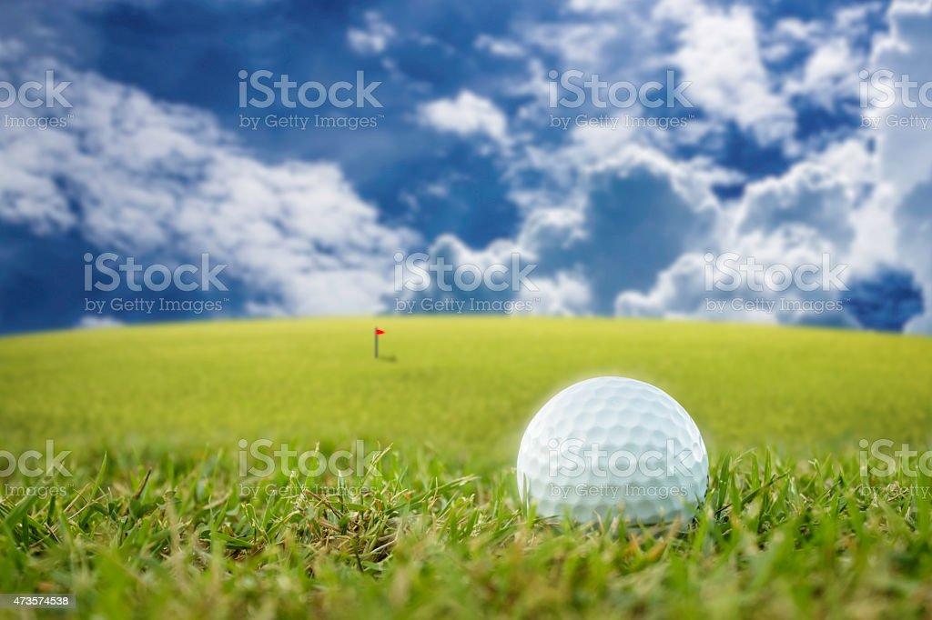 golf-ball on course stock photo