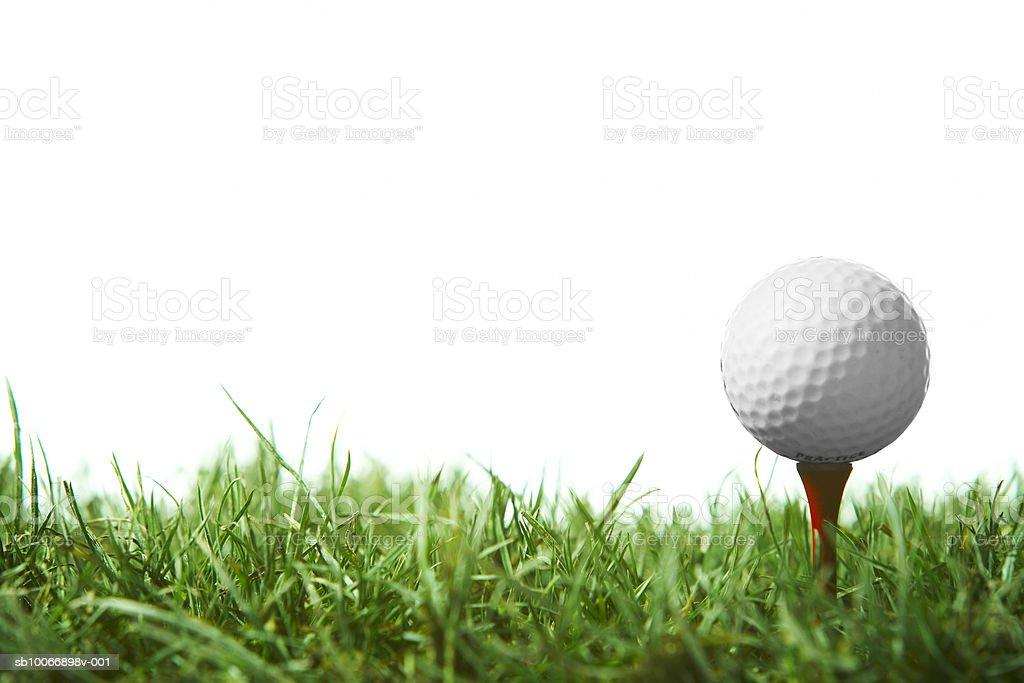 Golfball on tee stock photo