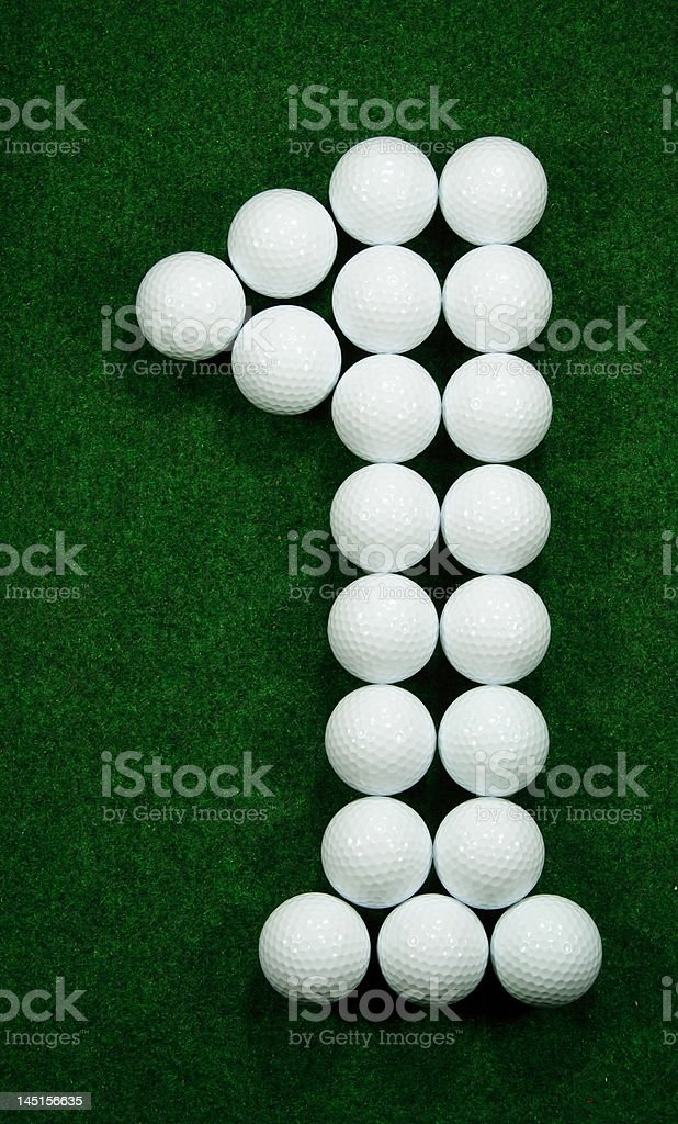Golfballs as number one royalty-free stock photo