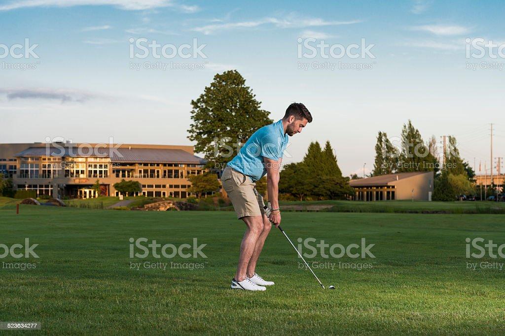 Golfer Approach Shot stock photo