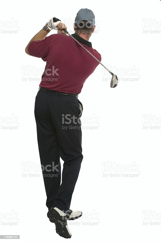 Golfer back swing rear view royalty-free stock photo