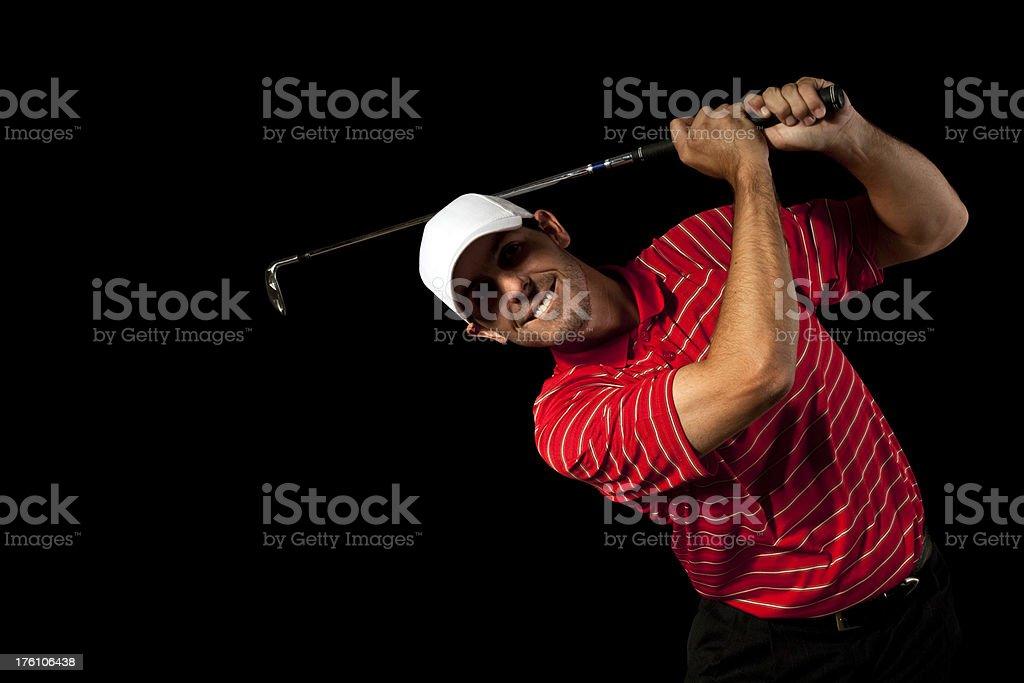 Golfer Body English - Isolated on Black royalty-free stock photo