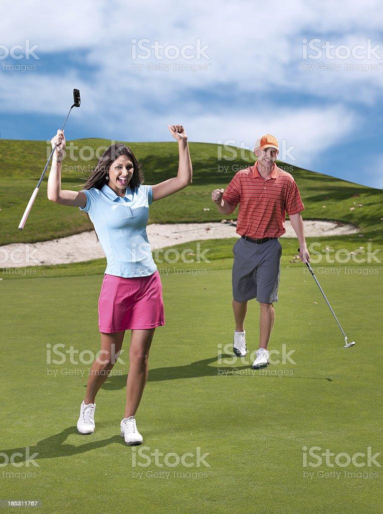 Golfer Celebration royalty-free stock photo