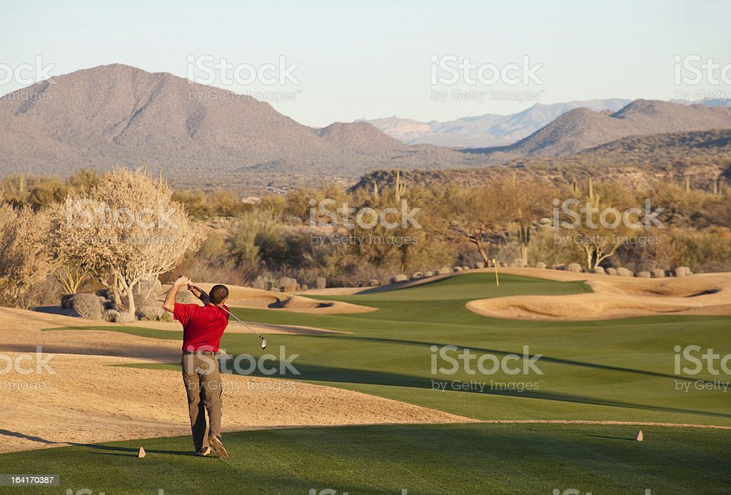 Golfer Driving Off The Tee in Phoenix stock photo