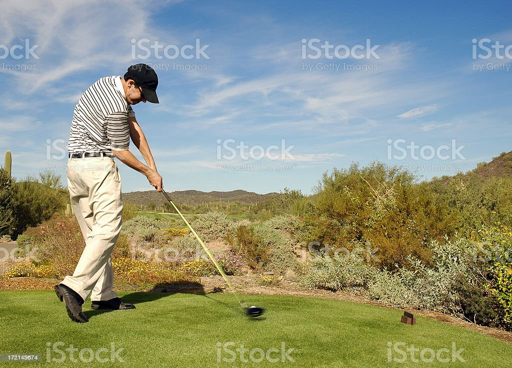 Golfer Impact Intense royalty-free stock photo
