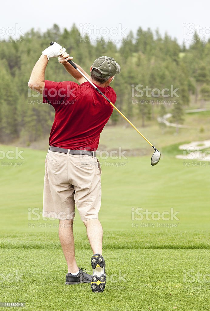 Golfer In Finish Position royalty-free stock photo