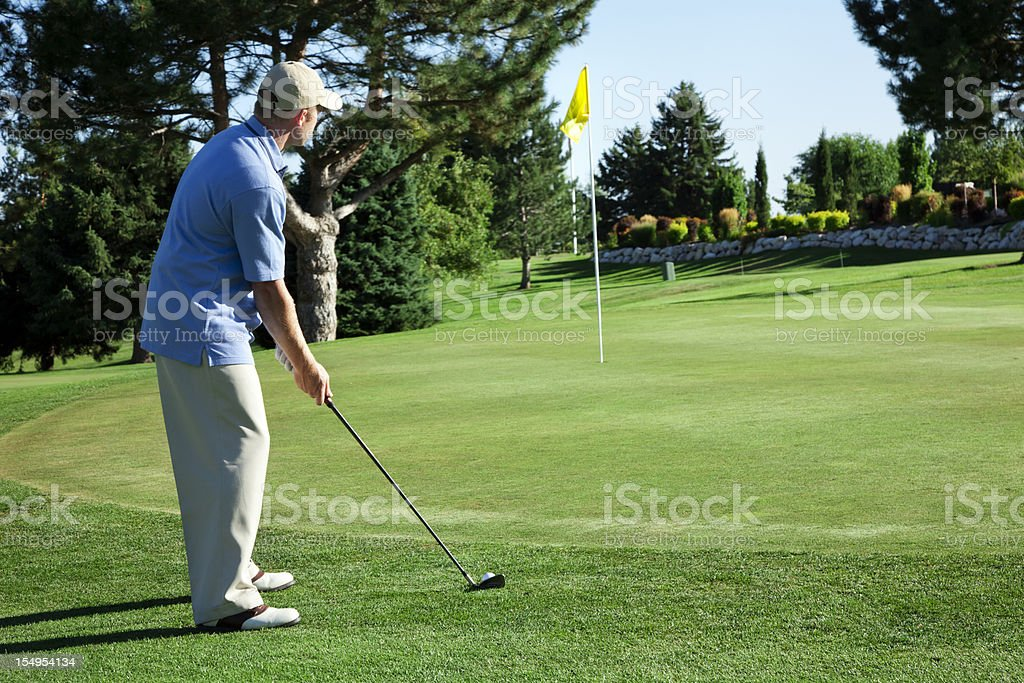 Golfer Lining Up for Chip Shot royalty-free stock photo