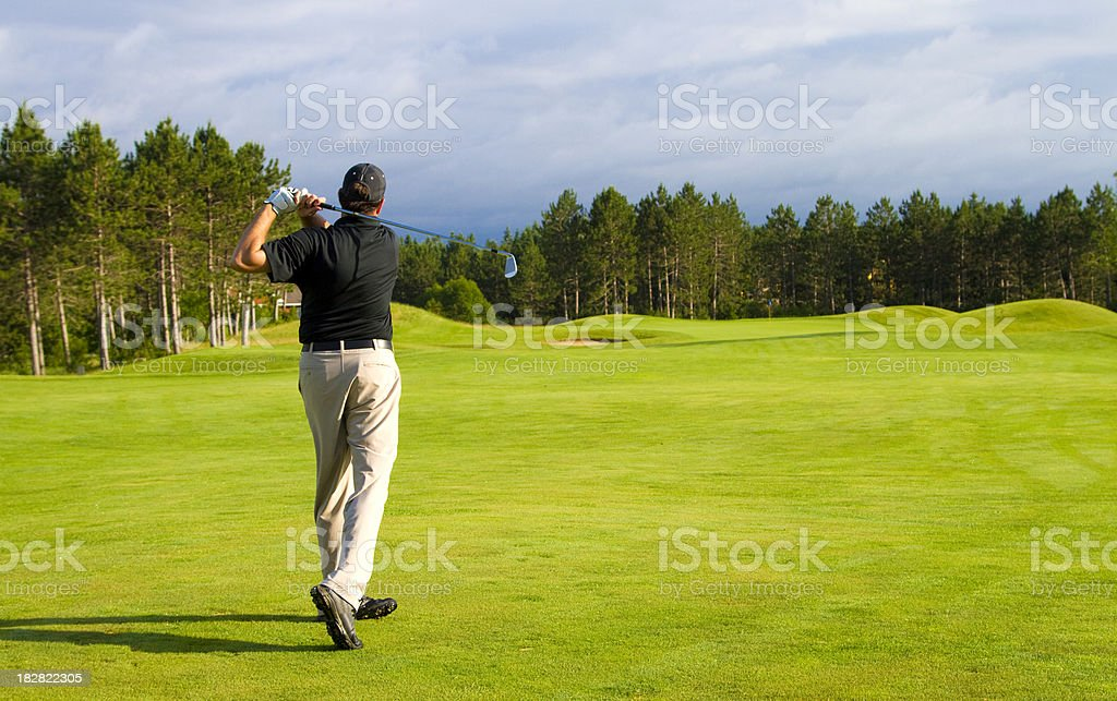 Golfer on a Michigan Golf course stock photo