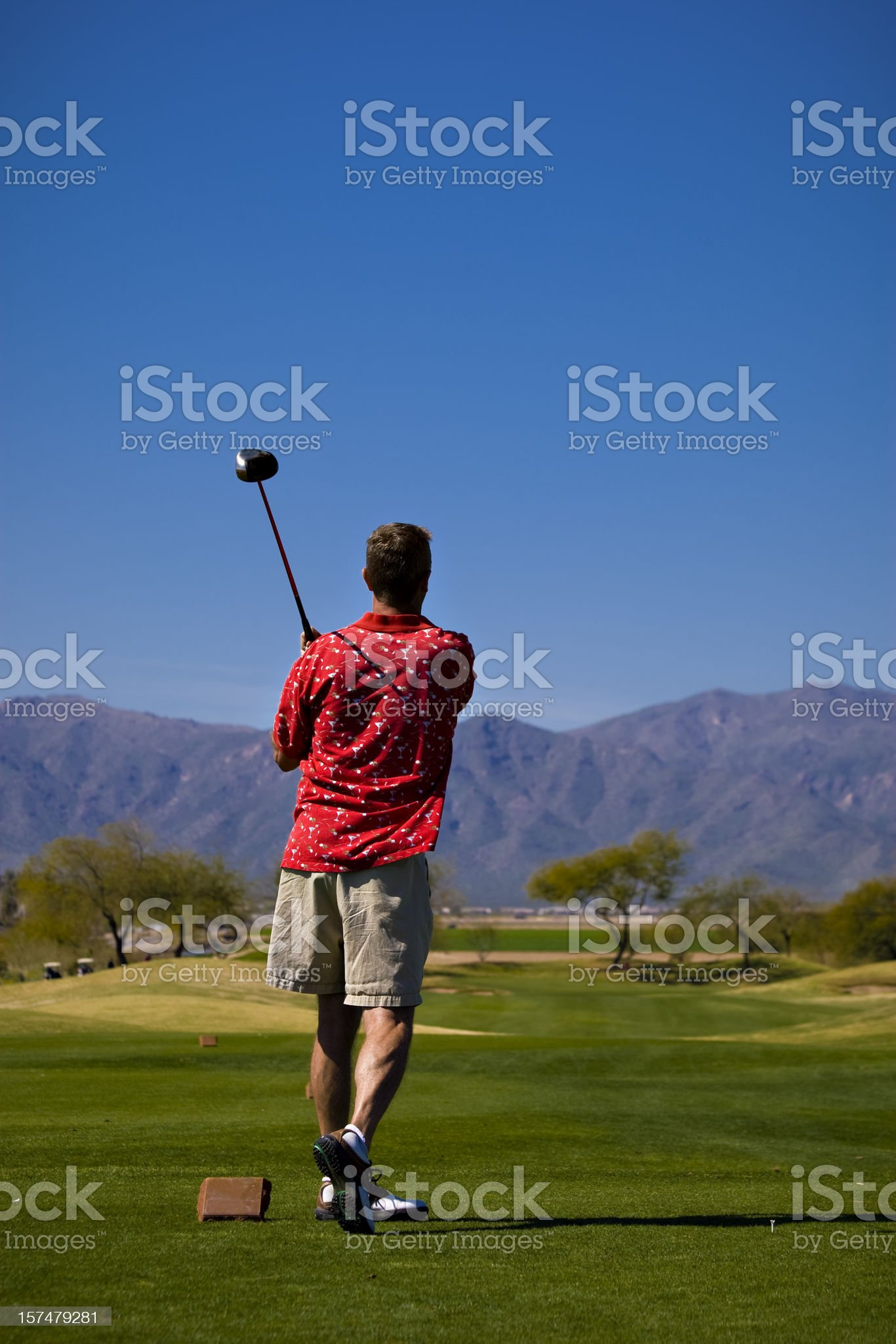 Golfer on an Arizona Golf Course royalty-free stock photo