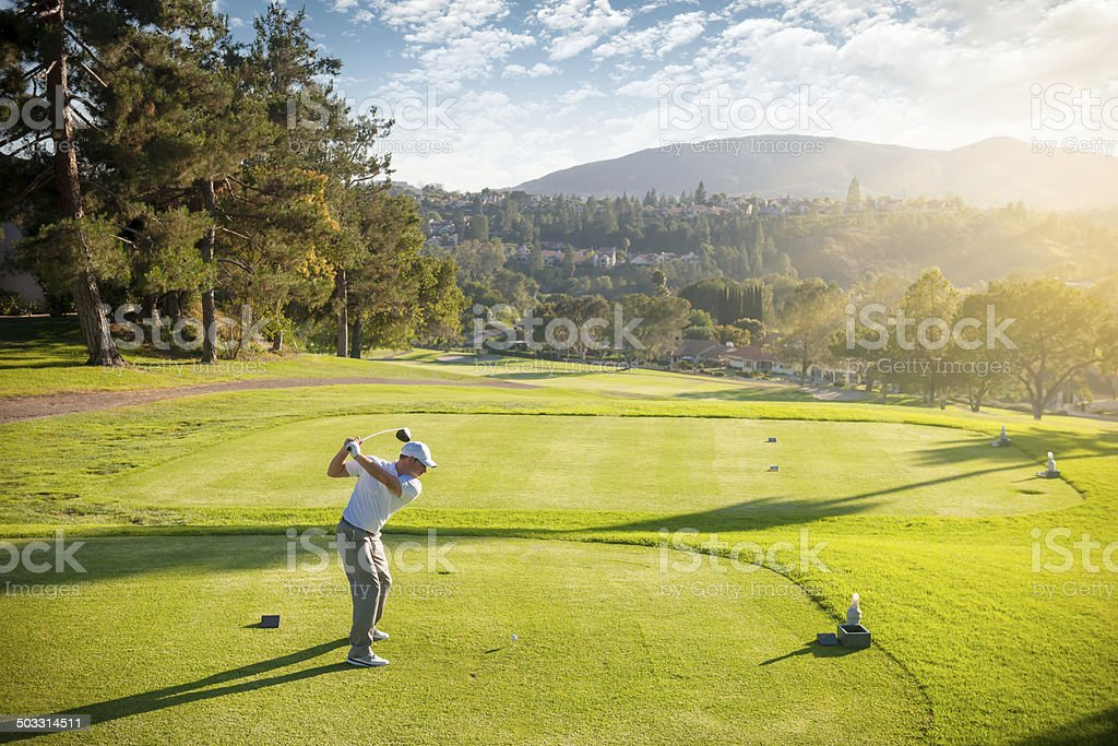 Golfer On The Tee Box stock photo