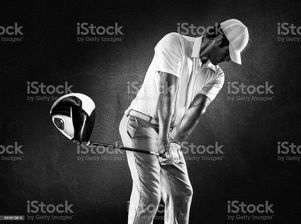 B&W Golfer stock photo