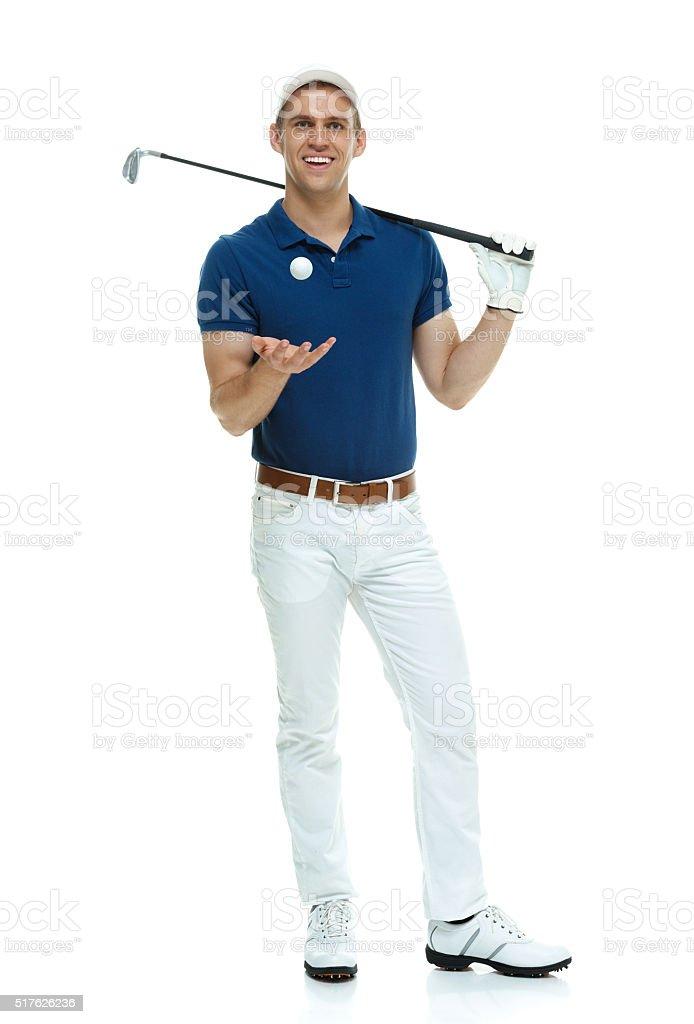 Golfer posing stock photo