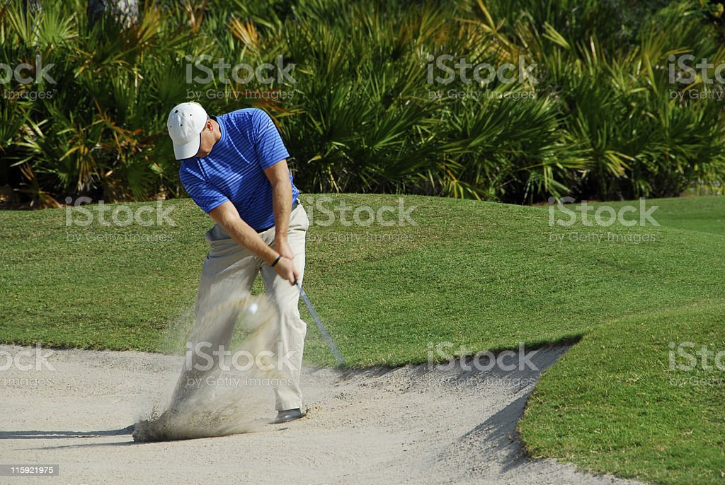 Golfer Sandtrap stock photo