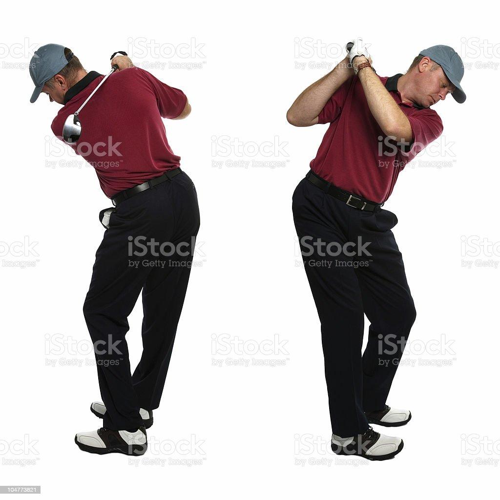 Golfer side views royalty-free stock photo