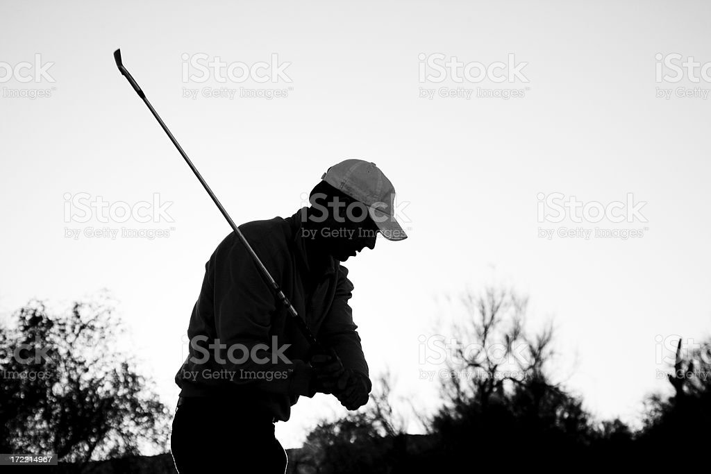 Golfer Silhouette in Black and White 4 royalty-free stock photo