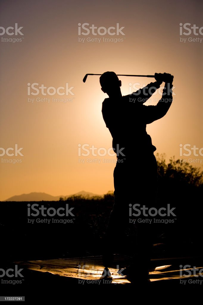Golfer Silhouette Pose royalty-free stock photo