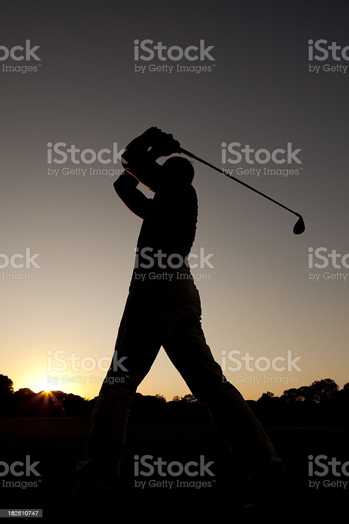 Golfer Silhoutte royalty-free stock photo