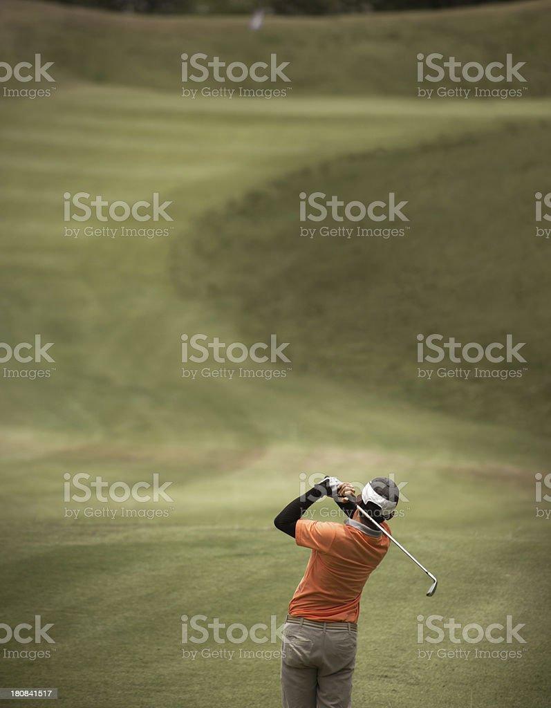 Golfer swing royalty-free stock photo