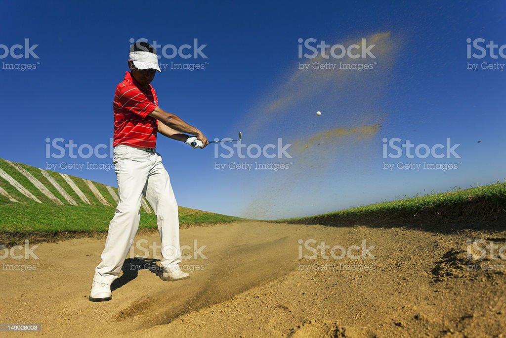 golfer swing sand trap royalty-free stock photo
